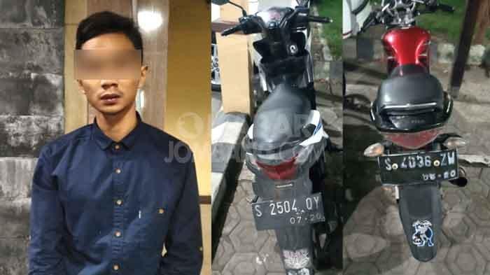 Tersangka kasus Curanmor beserta barang bukti, saat diamankan di Polres Jombang.