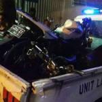 Tiga kendaraan yang terlibat di Jalan Gus Dur, Jombang, saat diangkut petugas ke kantor Satlantas Polres Jombang.