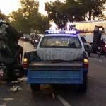 Kondisi kecelakaan antara mobil box Grand Max dengan Bus Harapan Jaya, di jalan raya jurusan Jombang – Madiun, tepatnya di Desa Glagahan, Kecamatan Perak, Kabupaten Jombang, Minggu (2/6/2019) sekitar pukul 04.30 WIB.