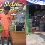 Tersangka pencuri 2 tabung LPG 3 kilogram (jenis melon), saat diamankan di Polsek Sumobito, Jombang.