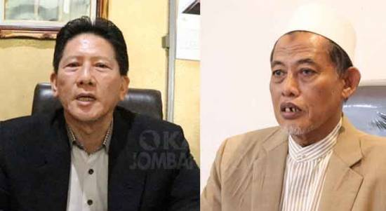 Pendeta Heri Susanto, Ketua Badan Kerjasama Gereja-Gereja (BKSG) Jombang, dan KH Cholil Dahlan, Ketua Majelis Ulama Indonesia (MUI) Kabupaten Jombang.