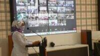 Bupati Mundjidah Wahab saat membuka Sosialisasi Perbup Jombang tentang Pengelolaan Dana Desa (DD), Alokasi Dana Desa (ADD), dan PDRD Tahun 2021 secara virtual.