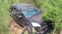 Honda CRV mengalami kecelakaan tunggal nyungsep di kebun tebu Mojoagung, Jombang pada Selasa (18/5/2021). KabarJombang.com/istimewa/