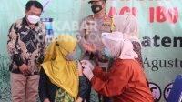 Vaksinasi ibu hamil di Puskesmas Mayangan, Kecamatan Jogoroto,, Kabupaten Jombang, Selasa (31/8/2021). KabarJombang.com/Daniel Eko/