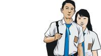 Ilustrasi seragam sekolah gratis di Jombang direfocusing.