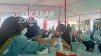 Sejumlah santri Mambaul Ma'arif Denanyar, Jombang saat melakukan vaksinasi Covid-19 dosis ke-dua, Rabu (6/10/2021). KabarJombang.com/Fa'iz/